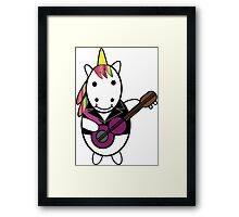 Unicorn Kawaii Punk Guitarist Framed Print