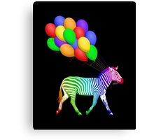 Rainbow Party Zebra - Now with Balloons! Canvas Print