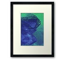 Cool, unique modern green blue abstract painting art design Framed Print