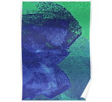 Cool, unique modern green blue abstract painting art design Poster