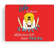 Smile! with Adventure Time (dark/ colour background version) Canvas Print