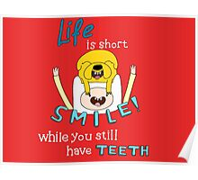 Smile! with Adventure Time (dark/ colour background version) Poster