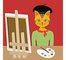 Salvador Kitty cat kitten paint artist Graphic tee vector cat design Photographic Print