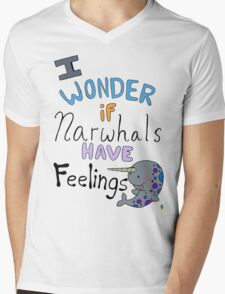 Do narwhals have feelings!?!! Mens V-Neck T-Shirt