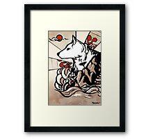Wolf Ukiyo-e Framed Print