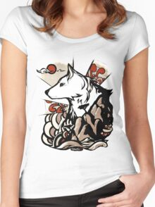 Wolf Ukiyo-e Women's Fitted Scoop T-Shirt