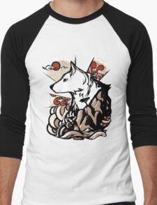 Wolf Ukiyo-e Men's Baseball ¾ T-Shirt