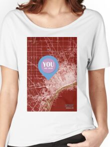 Detroit Michigan 1905 Red old map, YOU ARE HERE! Women's Relaxed Fit T-Shirt