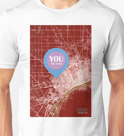 Detroit Michigan 1905 Red old map, YOU ARE HERE! Unisex T-Shirt