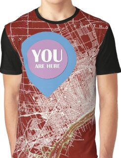 Detroit Michigan 1905 Red old map, YOU ARE HERE! Graphic T-Shirt