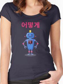 Cute Robot 어떻게 Hangul Ottoke Women's Fitted Scoop T-Shirt