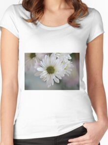 White daisy flower Women's Fitted Scoop T-Shirt