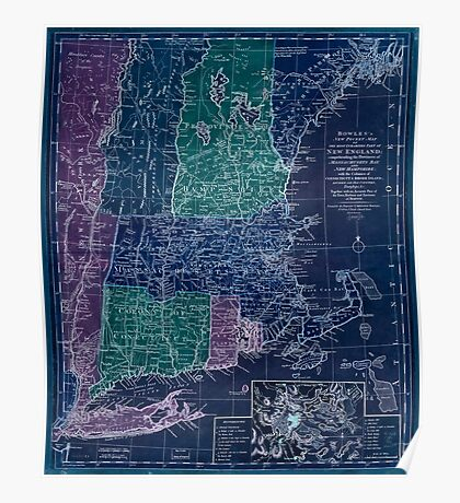 American Revolutionary War Era Maps 1750-1786 348 Bowles's new pocket map of the most inhabited part of New England comprehending the provinces of Inverted Poster