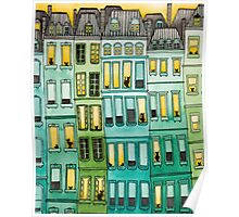 Cats in Green Townhouses Poster