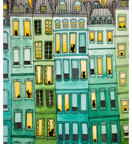 Cats in Green Townhouses Sticker
