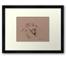 """A Mother's Pride"" Lioness and cub original pencil drawing. Framed Print"
