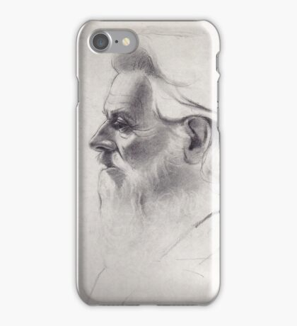 """""""The old man thinks"""" - original pencil drawing on paper iPhone Case/Skin"""