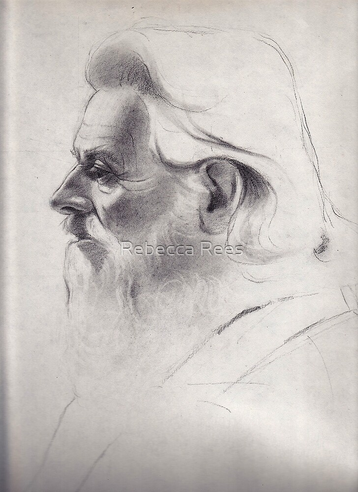 """""""The old man thinks"""" - original pencil drawing on paper by Rebecca Rees"""