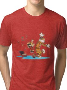 calvin and hobbes dancing with music Tri-blend T-Shirt