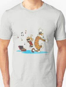 calvin and hobbes dancing with music T-Shirt