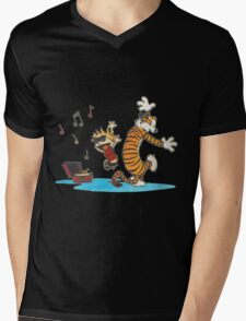 calvin and hobbes dancing with music Mens V-Neck T-Shirt