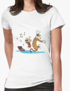 calvin and hobbes dancing with music Womens Fitted T-Shirt