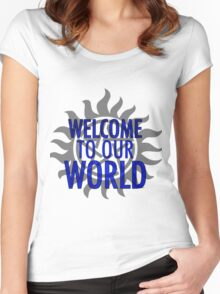 Welcome to our world Women's Fitted Scoop T-Shirt