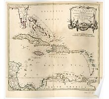 American Revolutionary War Era Maps 1750-1786 956 The West Indies exhibiting the English French Spanish Dutch and Danish settlements with the adjacent parts Poster