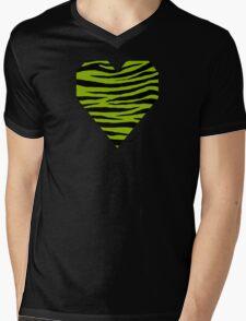 0014 Apple Green Tiger Mens V-Neck T-Shirt