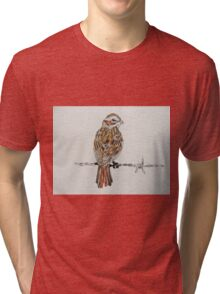 sparrow on barbed wire Tri-blend T-Shirt