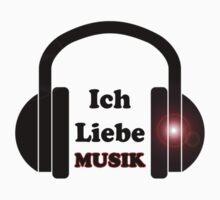 Ich Liebe Musik - Hey DJ Deutsche Hits T-Shirt - Kopfhörer Dance Music Sticker Kids Tee