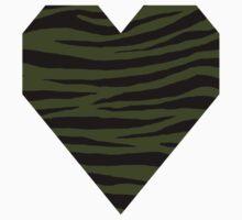 0018 Army Green Tiger Kids Tee