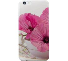 A Cup Of Pink Lavatera Flowers iPhone Case/Skin
