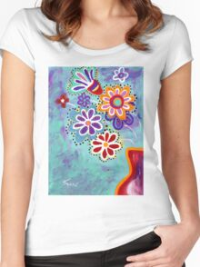 Happy Flowers - Art by Valentina Miletic Women's Fitted Scoop T-Shirt