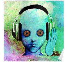 Alien Headphones Poster
