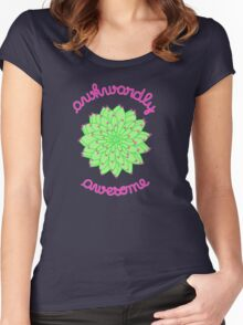 Awkwardly Awesome - Green Cactus Women's Fitted Scoop T-Shirt