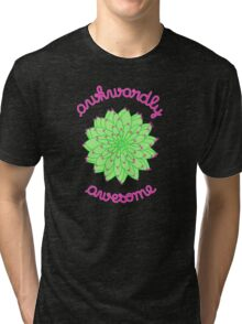 Awkwardly Awesome - Green Cactus Tri-blend T-Shirt