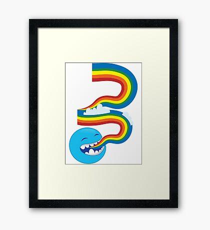 I SPEAK rainbows! cute kawaii character sending out a rainbow Framed Print