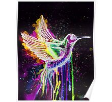 Hummingbird Watercolor- Neon Poster