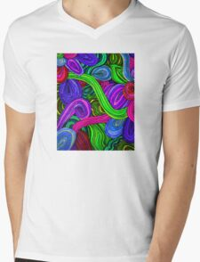 Psychedelic Lines (Green) Mens V-Neck T-Shirt