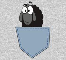 Help! Black Sheep In My Pocket - Cute Weird T-Shirt Sticker One Piece - Long Sleeve