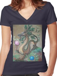 DRAGON - EARTH ELEMENT Women's Fitted V-Neck T-Shirt