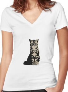 Kitty Cat (Brown) Women's Fitted V-Neck T-Shirt