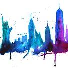 Watercolor New York Skyline Silhouette by Anastasiia Kucherenko