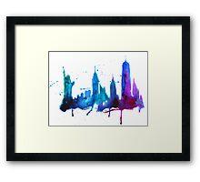 Watercolor New York Skyline Silhouette Framed Print