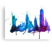 Watercolor New York Skyline Silhouette Canvas Print