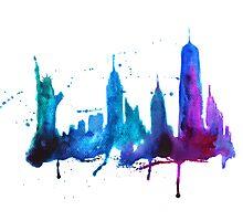 Watercolor New York Skyline Silhouette Photographic Print