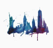 Watercolor New York Skyline Silhouette One Piece - Long Sleeve