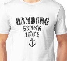 Hamburg Koordinaten Vintage Schwarz Unisex T-Shirt