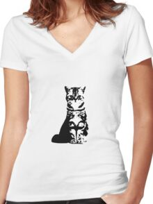 Kitty Cat (White) Women's Fitted V-Neck T-Shirt